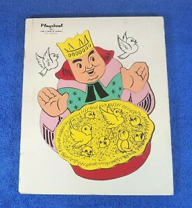Vintage Playskool Wood Puzzle - Sing a Song of Sixpence - White - #185-3