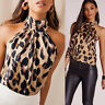 Womens Leopard Printed Blouse Halter Neck Cami Vest Evening Party Tops Size 8-20