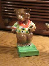DAPPER BEAR TOOTHBRUSH HOLDER - 1930s -  vibrant and wonderful condition