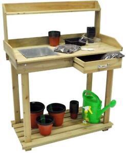 New Garden Wood Potting Bench Planting Table Garden Workstation Push Cart