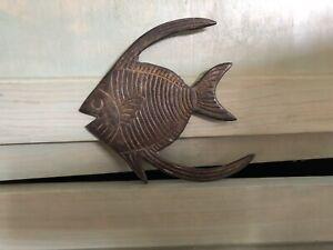 "Vintage Heavy Metal Cast Iron Wall Hanging Art Ocean Fish Paper Weight 6.25"""