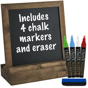 Vintage Rustic Wood Tabletop Chalkboard: Includes 4 Liquid Chalk Markers 10x 10