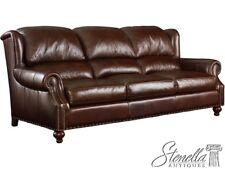 L45571: HENREDON Model #8825 Soft Brown Leather Sofa w, Tack Head Trim ~ New