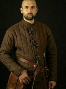 Padded Brown Gambeson Medieval Suit Of Quilted Costumes Sca larp