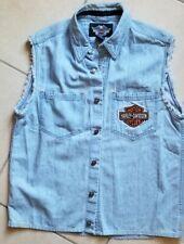 Harley Davidson Men Embroidered Sleeveless Raw Hem Denim Shirt Size M