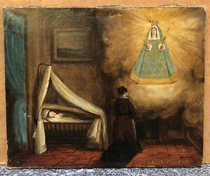 Tableau Ancien Huile Religieux Ex Voto Femme Prière Vierge Bébé XIXe à restaurer