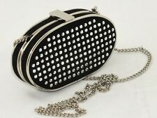 Zara Black clutch purse with silver chain and rivets