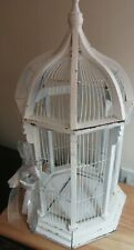 Wood Bird Cage Cathedral Dome Vintage White Wedding Architectural Cottage 27� H