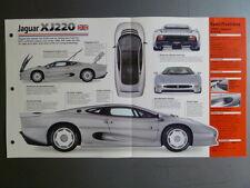 """1992 - 1994 Jaguar XJ 220 Coupe IMP """"Hot Cars"""" Spec Sheet Folder 1-5 Awesome"""
