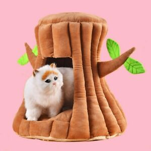 Cute Tree Cat Kitten Bed House Pet Puppy Soft Comfort Felt Hut Cave Nest UK