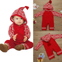 Newborn Baby Girls Boys Hooded Romper Bodysuit Jumpsuit Playsuit Clothes Outfit