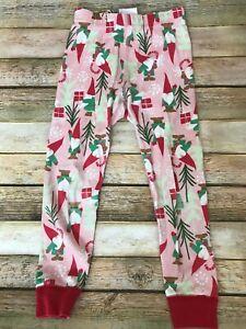 Hanna Andersson Christmas Pajama Bottoms Pink Elves Presents Trees Sz 100 US 4