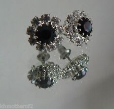 Austrian Crystal Pierced Earrings FLOWER Black Clear Silver Setting SPARKLES  #1
