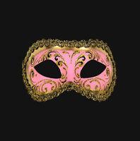 Máscara De Venecia Lobo Columbine Rosa Y Dorado Auténtico Papel Maché 456