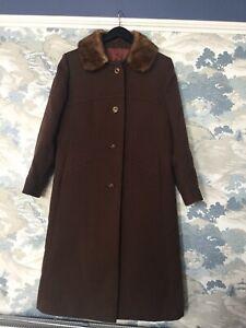 Vintage 1960's Chocolate Brown  Coat Size 14-16