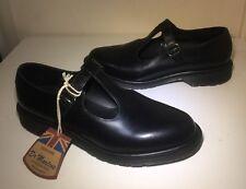 Bnwt! Sz9 England Dr. Martens Classics T Bar Black Smooth Leather Shoes Eu43