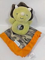 Carter's Camouflage Dinosaur Toy Security Blanket Baby Plush Rattle Lovey