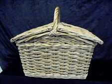 PICNIC BASKET Large With Handle With Lid & Leather Strap  Shopping VGC (OS)