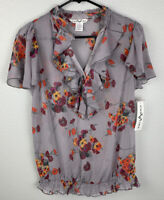 Christine V Floral Blouse Top Womens S Small NWT