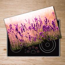 Glas-Herdabdeckplatte Ceranfeldabdeckung Spritzschutz 80x52 Lavendel