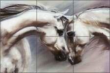 Ceramic Tile Mural Kitchen Backsplash McElroy Horses Equine Art KMA026