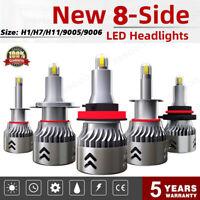 2pcs 8-Sides H1/H7/H11/9005/9006 300W 48000LM LED Headlight Bulbs Fog Light HID