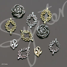 10 Pcs 3 Styles Alloy Silver and Copper 3D Nail Art Decoration #S1164a