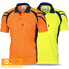 Hi Vis Tradie Short Sleeve Dry Breathable Strip Panel Work Polo Shirt - Dnc 3979