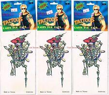 Lot of THREE Body Art Skeleton Pirate Temporary Tattoos