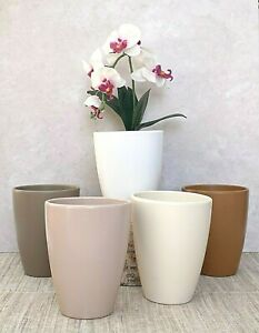Tall Ceramic Orchid Flower Plant Pot Garden Home Planter Mothers Day Gift H17cm
