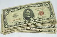 Lot of 10 - 1963 $5.00 $5 Five Dollar - Red Seal - Legal Tender Notes Collection