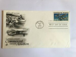UNITED STATES USA 1976 FDC ART CRAFT COMMERCIAL AVIATION