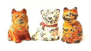 Hubley Lot 3 Cast Iron Paperweight chow dog two cat Toy Antique USA kitten