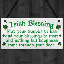 IRISH BLESSING Happiness Friendship Gift Plaque St Patricks Day Lucky House Sign