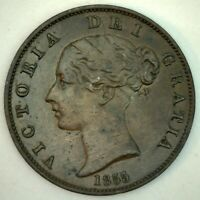 1855 Great Britain Copper Half Penny Coin 1/2 Cent UK Coin AU Almost UNC