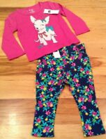 Baby Gap Girls 12-18 Months Outfit. Pink Puppy Shirt & Floral Leggings. Nwt