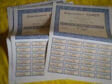 Vintage share certificate Stock Bonds action établissements Comète 1954 x 5