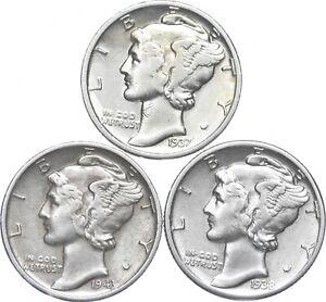 Lot of 3 AU/Unc 1937, 1943-S, 1938 Mercury Dimes 90% Silver Collection *970
