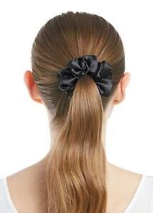 Damen Seide Haargummi Pferdeschwanz Band Haarband Pferdesschwanz Schwarz