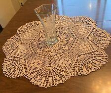 Fan veil design 29.5 inch - Cotton crochet handmade doily, tablecloth