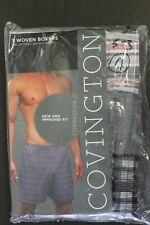 3 pack Woven Boxers COVINGTON COTTON Blend Men's Brief Trunks SMALL 28-30 S-3