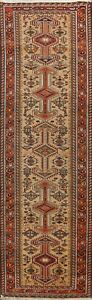 Tribal Semi-Antique Geometric Heriz Hand-knotted Runner Rug Wool Oriental 3'x12'