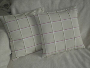 """18"""" COTTON CUSHION COVER MADE WITH JOHN LEWIS PINK 'MEADOW CHECK' FABRIC - NEW -"""