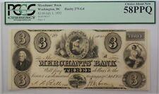 1852 Merchants' Bank $3 Obsolete Currency Haxby 275-G4 Washington DC PCGS 58 PPQ