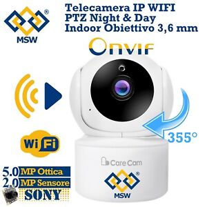 Telecamera iP PTZ WiFi da interno 5MPX Con sensore1080P Onvif Day Night CareCam