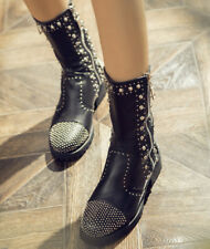 Nieten punk Damen Bikerstiefel Stiefeletten Leder flach zip boots Schwarz Luxus