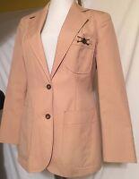 Vintage Esteene Aigner tan Khaki Fitted Blazer Jacket 80's ladies size 8