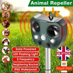 Ultrasonic Solar Cat Dog Repellent Fox Pest Scarer Deterrent Repeller Garden UK