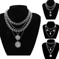 Pendant Crystal Choker Necklace Jewelry Boho Women Chain Multi-layer Fashio S6Z9