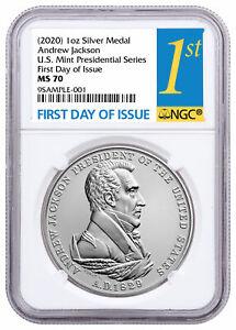 (2020) Presidential Medal Jackson 1oz Silver Matte NGC MS70 FDI SKU60652